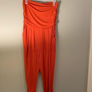 Forever 21 Rust Orange Strapless Cotton Jumpsuit